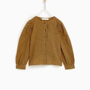 Zara girl plead mustard blouse